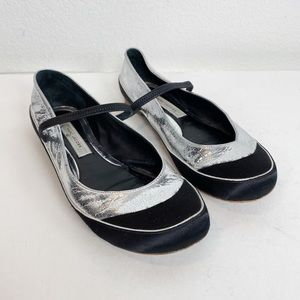 Marc Jacobs Silver Black Mary Jane Flats 37.5